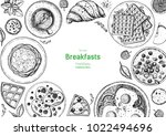 breakfasts top view frame.... | Shutterstock .eps vector #1022494696