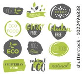 healthy food icons  labels.... | Shutterstock .eps vector #1022496838