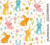 cute easter seamless pattern of ... | Shutterstock .eps vector #1022498494