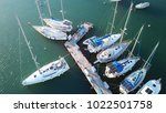 aerial photo of boats docked in ... | Shutterstock . vector #1022501758
