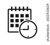 black calendar and clock icon ... | Shutterstock .eps vector #1022510629