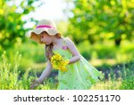 adorable kid with bouquet of... | Shutterstock . vector #102251170