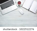 modern workplace on desk table... | Shutterstock . vector #1022512276