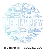 shipping and delivery flat icon ... | Shutterstock .eps vector #1022517280