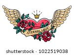 tattoo flying heart entwined in ... | Shutterstock .eps vector #1022519038