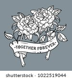 tattoo two roses with ribbon.... | Shutterstock .eps vector #1022519044