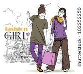two girls in sketch style on a... | Shutterstock .eps vector #102252250