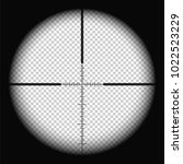 Sniper scope crosshairs view. Realistic optical sight. Vector illustration with transparent background. Round frame with blurred edges and a cross in the middle. Rifle target.