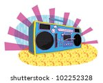 retro boom box in pop art manner