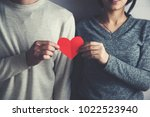 woman and man hand red heart | Shutterstock . vector #1022523940