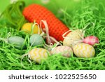 colorful easter eggs   happy... | Shutterstock . vector #1022525650
