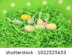 colorful easter eggs   happy... | Shutterstock . vector #1022525653