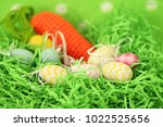 colorful easter eggs   happy... | Shutterstock . vector #1022525656