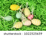 colorful easter eggs   happy... | Shutterstock . vector #1022525659