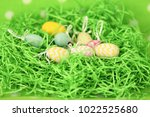colorful easter eggs   happy... | Shutterstock . vector #1022525680