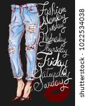 fashion illustration of femail... | Shutterstock .eps vector #1022534038