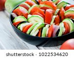 raw vegetable ratatouille in...   Shutterstock . vector #1022534620