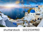 fira town on santorini island ... | Shutterstock . vector #1022534983