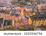 skyline of old town luxembourg... | Shutterstock . vector #1022536756