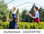 senior couple of gardeners or...   Shutterstock . vector #1022539750