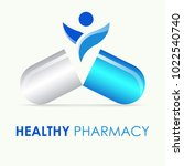vector of pharmacy logo ... | Shutterstock .eps vector #1022540740