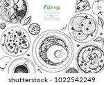 breakfasts top view frame....   Shutterstock .eps vector #1022542249
