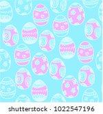 easter eggs seamless pattern | Shutterstock .eps vector #1022547196