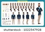 People character business set. Front, side, back view animated character.   Businessman character creation set with various views, face emotions, poses and gestures.Cartoon style, flat isolated vector | Shutterstock vector #1022547928