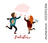 couple in love with a bubble... | Shutterstock .eps vector #1022551306