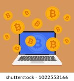 mining bitcoin crypto currency... | Shutterstock .eps vector #1022553166