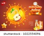multivitamin juice ads. fruits...   Shutterstock .eps vector #1022554096