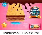 chocolate wafer ads. 3d... | Shutterstock .eps vector #1022554690