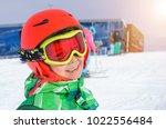 portrait of cute happy skier... | Shutterstock . vector #1022556484