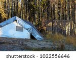 two tents set up at a hunting... | Shutterstock . vector #1022556646