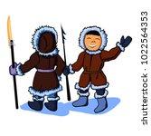 two cartoon eskimos with... | Shutterstock .eps vector #1022564353
