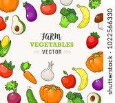vegetable vector cover. fresh... | Shutterstock .eps vector #1022566330