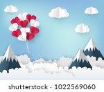 modern paper art origami... | Shutterstock .eps vector #1022569060