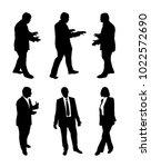 vector set of talking business... | Shutterstock .eps vector #1022572690
