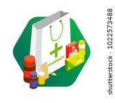modern pharmacy and drugstore...   Shutterstock .eps vector #1022573488