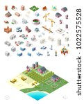 build your own isometric city . ... | Shutterstock .eps vector #1022575528