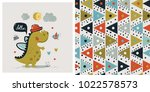 set of cute dinosaur boy and... | Shutterstock .eps vector #1022578573