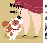 happy biegle dog with collar on ... | Shutterstock .eps vector #1022578783