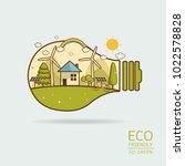 vector illustration of eco home ... | Shutterstock .eps vector #1022578828