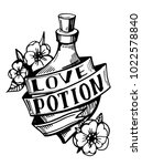 bottle with love potion. old... | Shutterstock .eps vector #1022578840