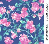 seamless pattern of roses... | Shutterstock . vector #1022580220