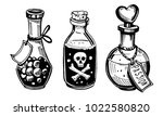 bottles with potions. poison... | Shutterstock .eps vector #1022580820