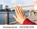 young woman's hand with diamond ... | Shutterstock . vector #1022581534
