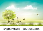 spring nature meadow landscape... | Shutterstock .eps vector #1022582386