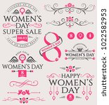 vector set of women's day... | Shutterstock .eps vector #1022582953