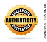 authenticity guaranteed gold... | Shutterstock .eps vector #1022587138